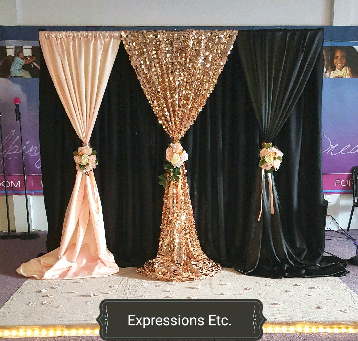 Blush Rose Gold Black Backdrop Gold Backdrop Wedding