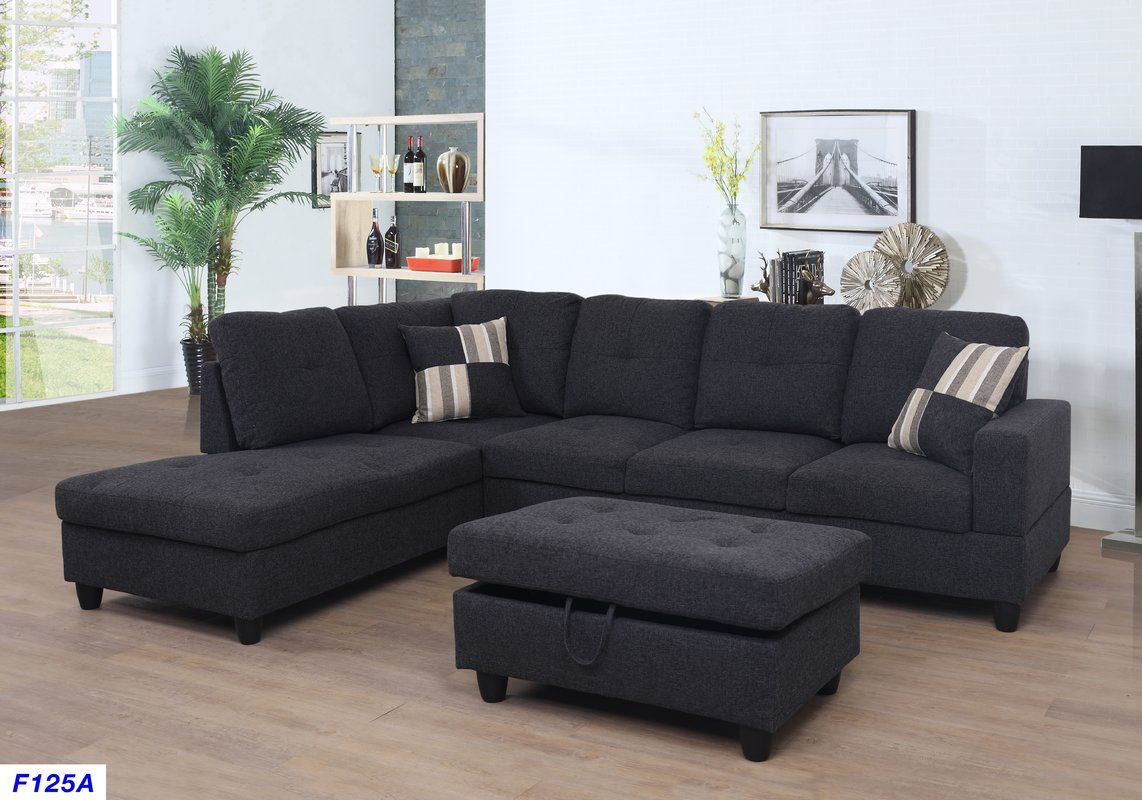 Mauzy Left Hand Facing Sectional With Ottoman Living Room Design