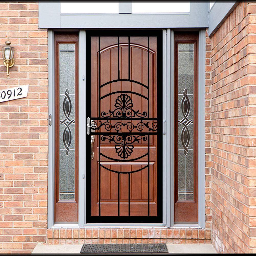 Grisham 36 In X 80 In 137 Series Black Hinge Right Victoria Security Door With Self Storing Glass Feature 13729 The Home Depot In 2020 Doors Security Door Door Design
