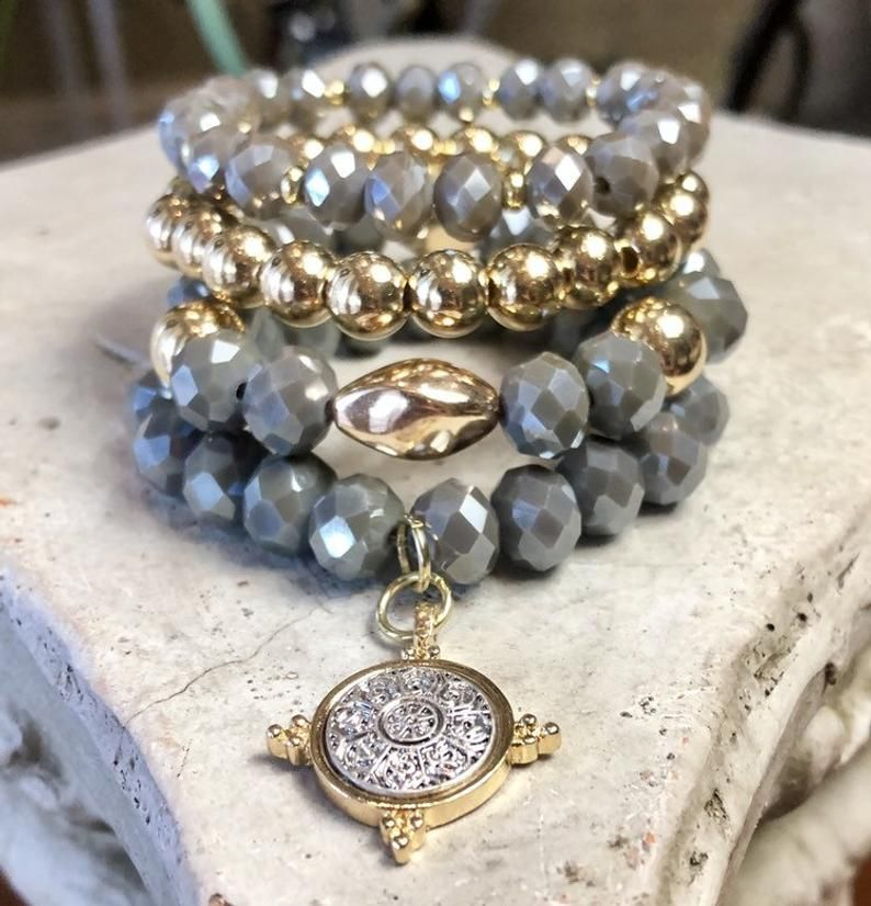 Czech beads bracelet gift for her long necklace Czech bead set stretchy bracelet set unique gift gemstone jewelry