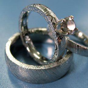 naked damascus wedding set with prong set diamond - Damascus Wedding Ring