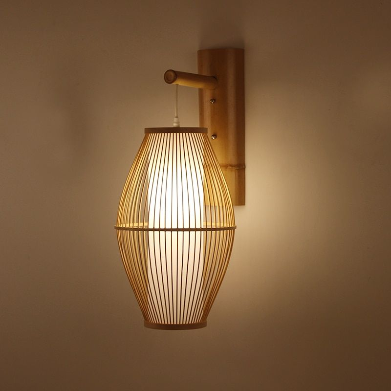 Japanese Wall Lamp For Living Room Bedroom Tea Shop Wooden Wall