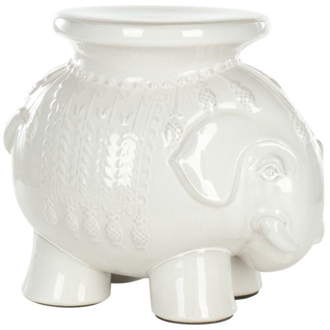 Safavieh Paradise Elephant White Ceramic Garden Stool , Outdoor Décor