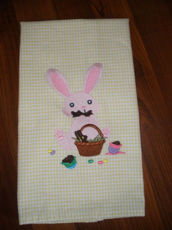 Easter Embroidered Towel   Chocolate Bunny by LynnsCozyQuilts, $8.99