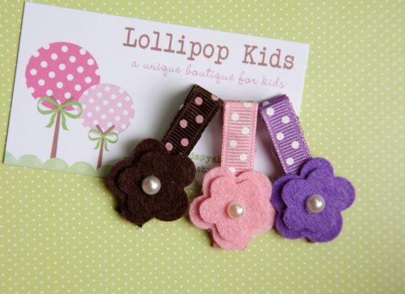 Toddler Hair Clip Girls Hair Clip Infant Hair Clip Children Hair Accessory Purple Brown Pink Wool Felt Flower Hair Clip Hair Bow #hairclips