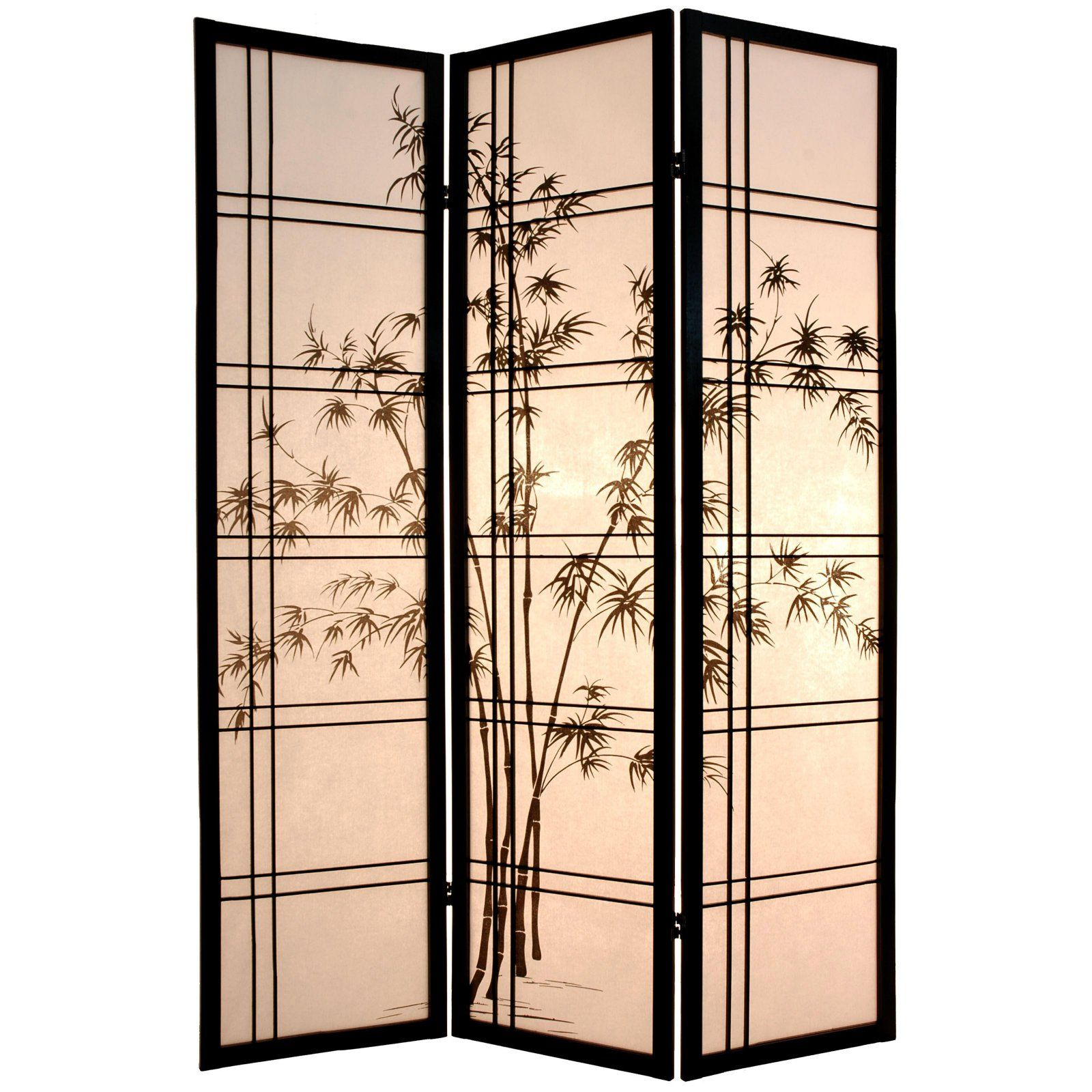 Oriental Furniture Bamboo Tree Room Divider Black Asian Home