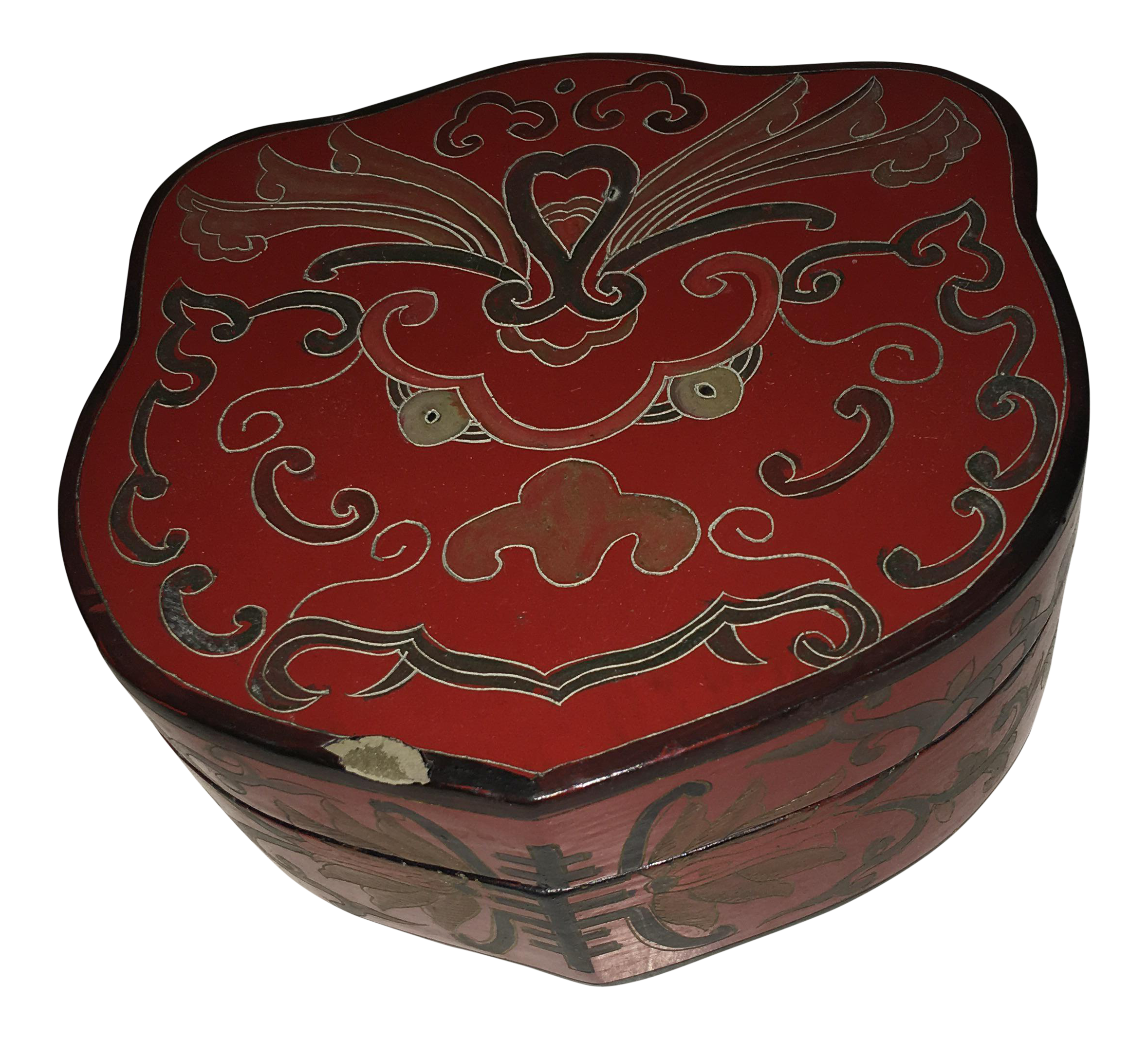 vintage shields shaped chinese red lacquer box chinoiserie and box