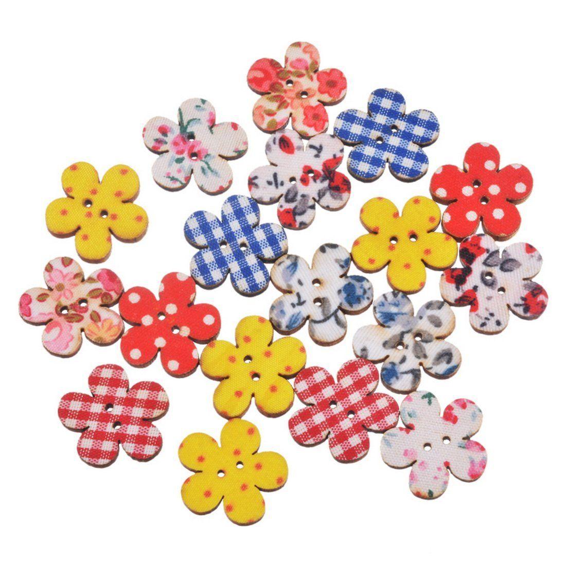 50Pcs Wood Mixed Flower Handmade 2 Holes Wooden Buttons Sewing Scrapbooking DIY