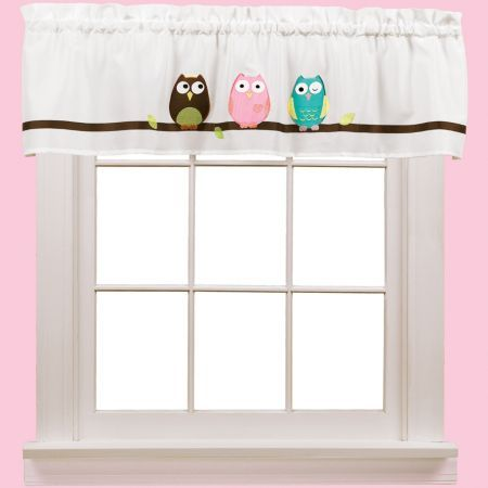 """Owl Rod-Pocket Valance (036326485269) Three adorable owls are perched on a branch across the top of this valance to keep a watchful eye on things. bright colors liven up any room rod-pocket design for easy installation Measures 55x15""""L. Sold individually. 1½"""" rod pocket. Polyester. Washable. Imported."""