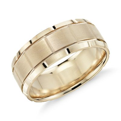 Groove Detail Comfort Fit Wedding Ring In 14k Yellow Gold 8mm Blue Nile Mens Wedding Bands Unique Mens Wedding Rings Mens Wedding Bands