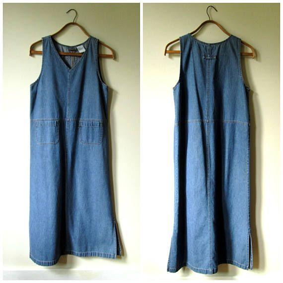 Denim Maxi Dress overall jumper sleeveless sundress long
