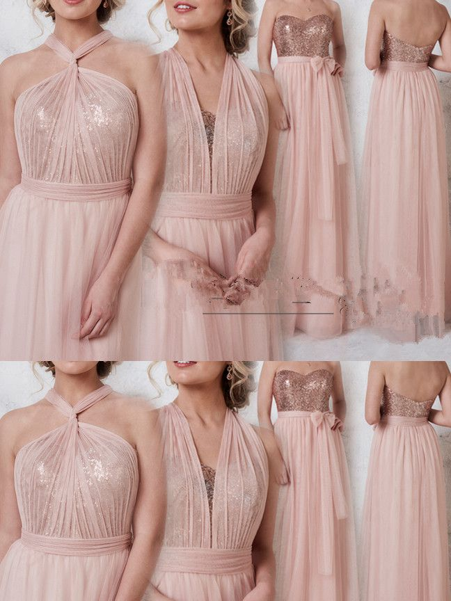 Convertible Rose Gold Long Bridesmaid Dress With Sequins In