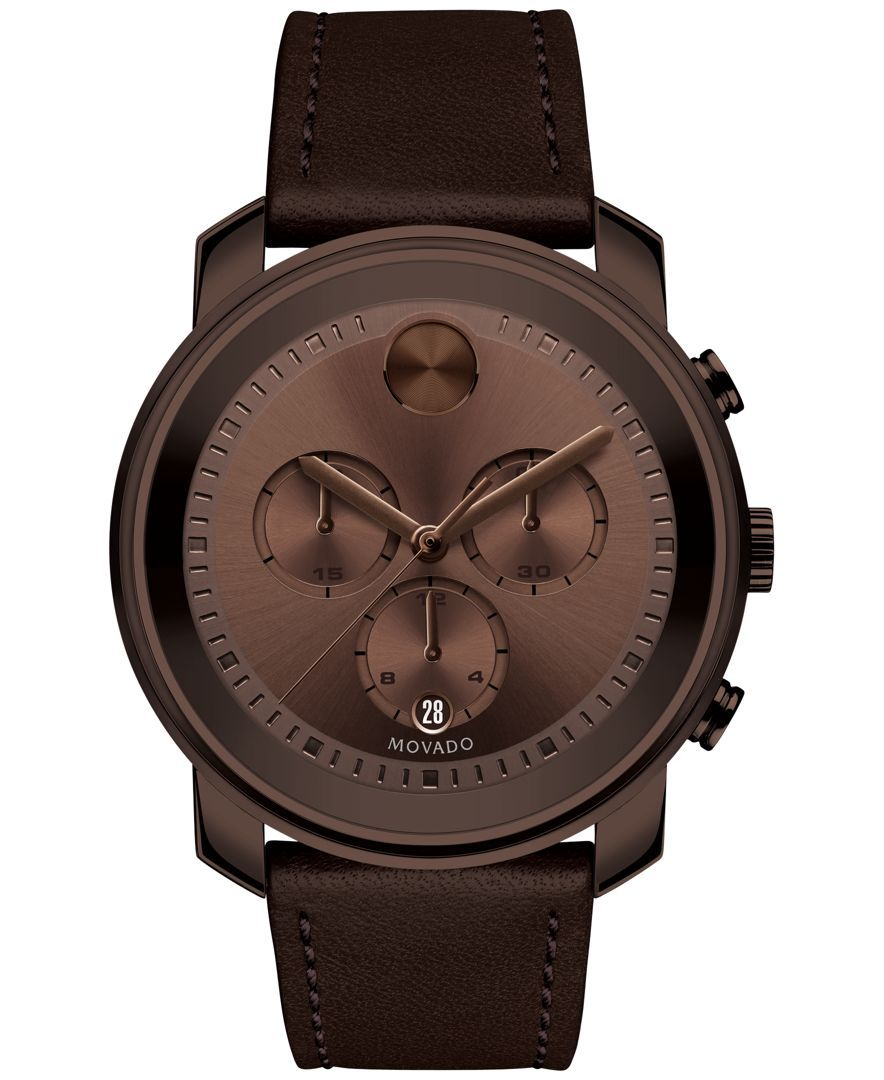 Movado Men's Swiss Chronograph Bold Brown Leather Strap Watch 44mm 3600420