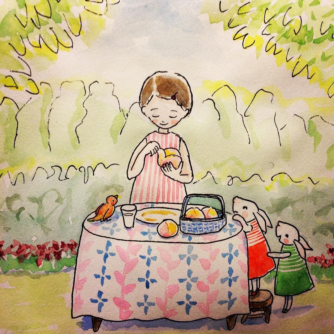 #illust #illustration #watercolor #girl #rabbit #bird #peach #garden #green #30minits  #イラスト #水彩 #女の子 #うさぎ  #小鳥 #庭 #みどり #グリーン #テーブル  美味しい桃をいただきました。甘い香りいっぱいで、早く、早く食べたいな。