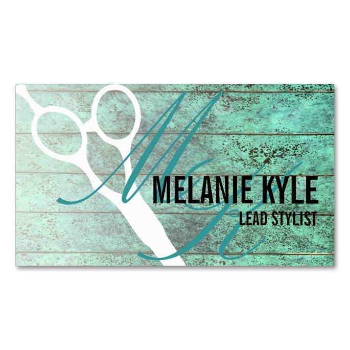 Chic Wood Hair Stylist Scissors Business Cards Make your own
