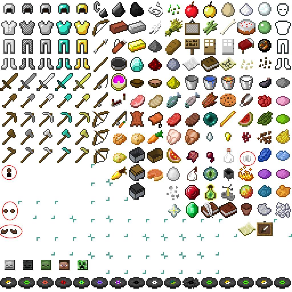 Minecraft default item sprites  Minecraft crafts, Minecraft