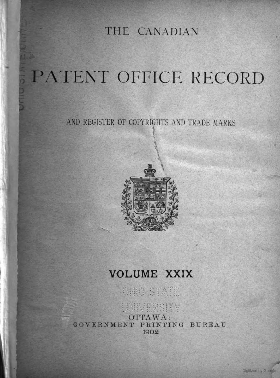 The Canadian Patent Office Record Patent, Records