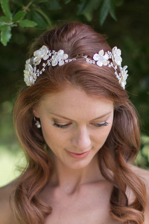 Florrie headdress pearl and crystal floral garland vine