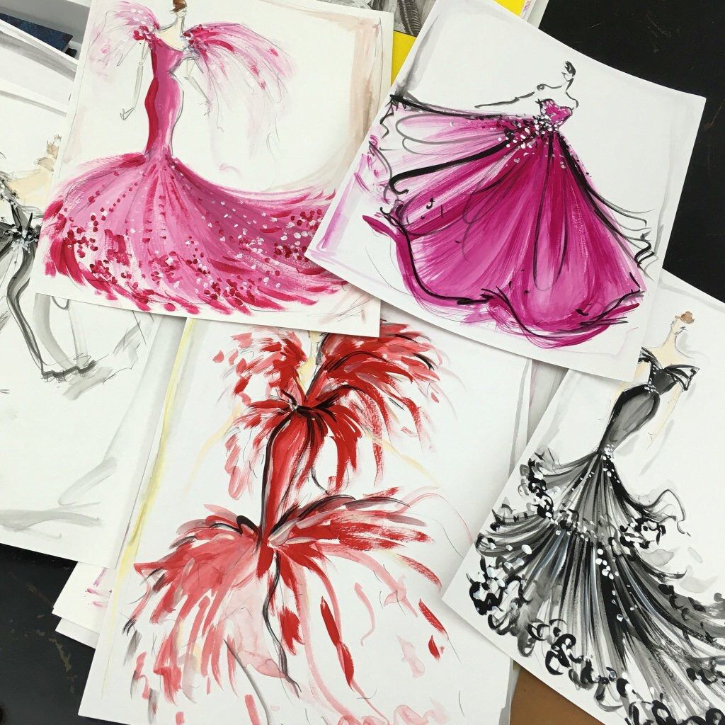 A Few Colorful And Pretty Original Sketches And Prints Still Available And On Sale At Our Online Store Christiansiriano Com Csske Sketches Christian Siriano Watercolor Sketch