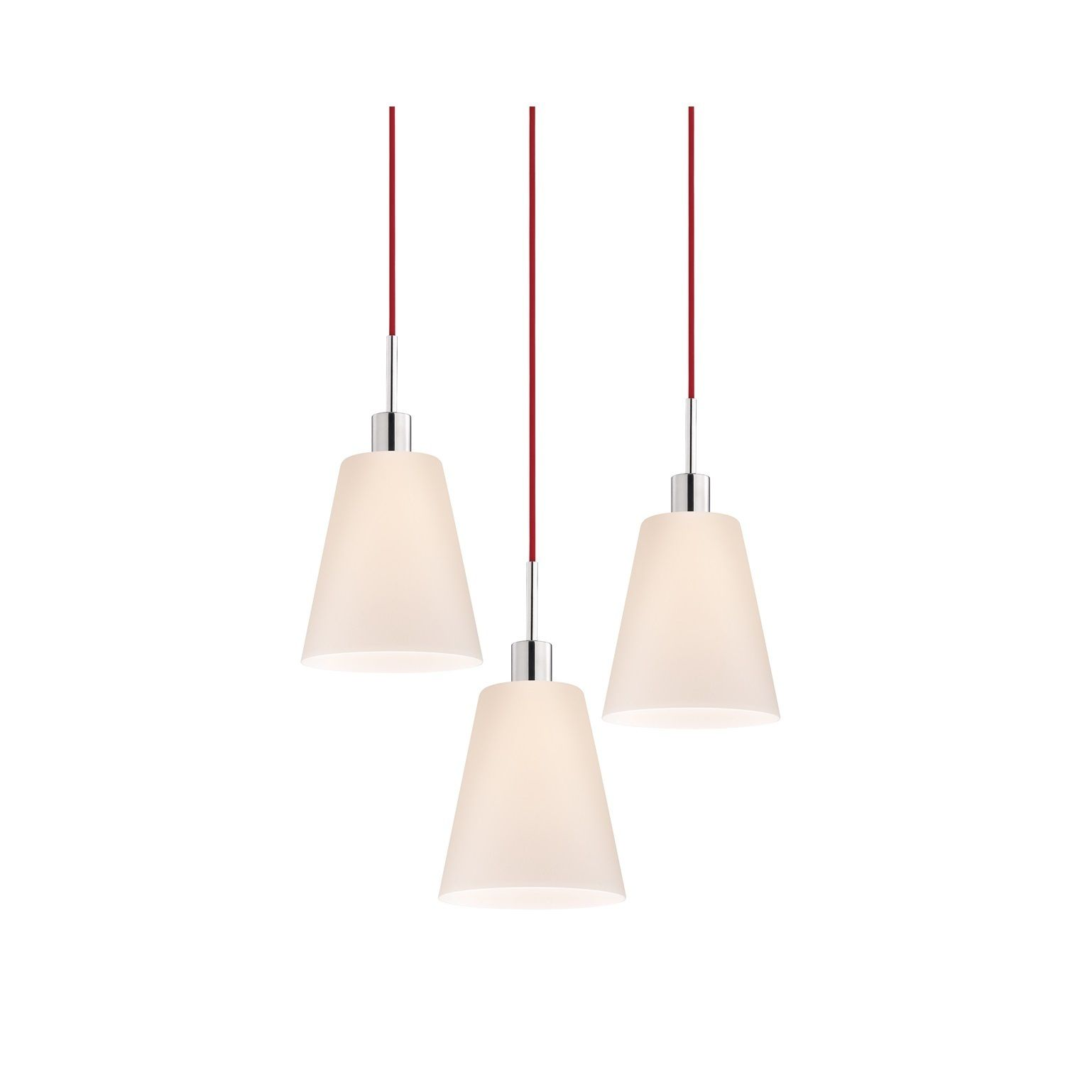 Sonneman Lighting Pendants - 3-light Polished Chrome Tall Cone Pendant with Red Cords