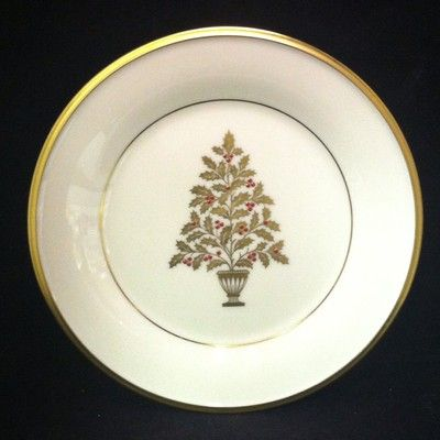 Lenox Eternal Christmas Gold And Red Tree Salad Plate Classic And Traditional