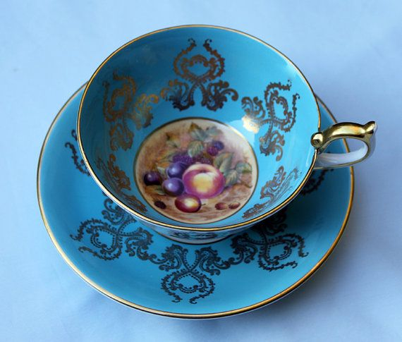 Antique Aynsley Tea Cup And Saucer Turquoise Bone China