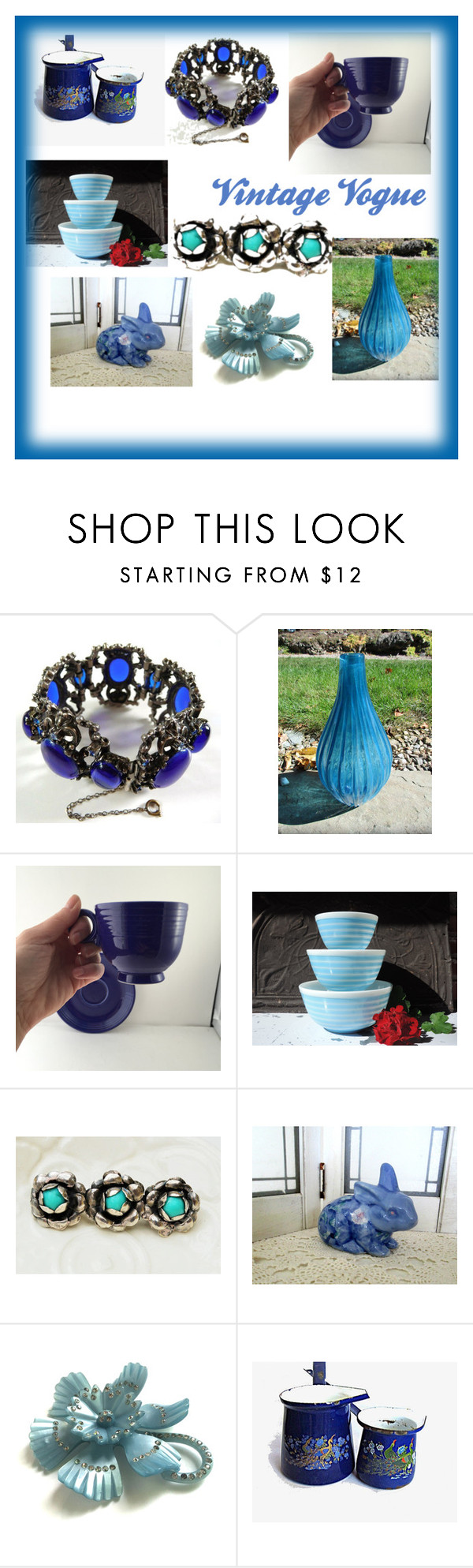 """""""Blues by Vintage Vogue"""" by thesnapdragonslair on Polyvore featuring interior, interiors, interior design, home, home decor, interior decorating, Pyrex and vintage"""
