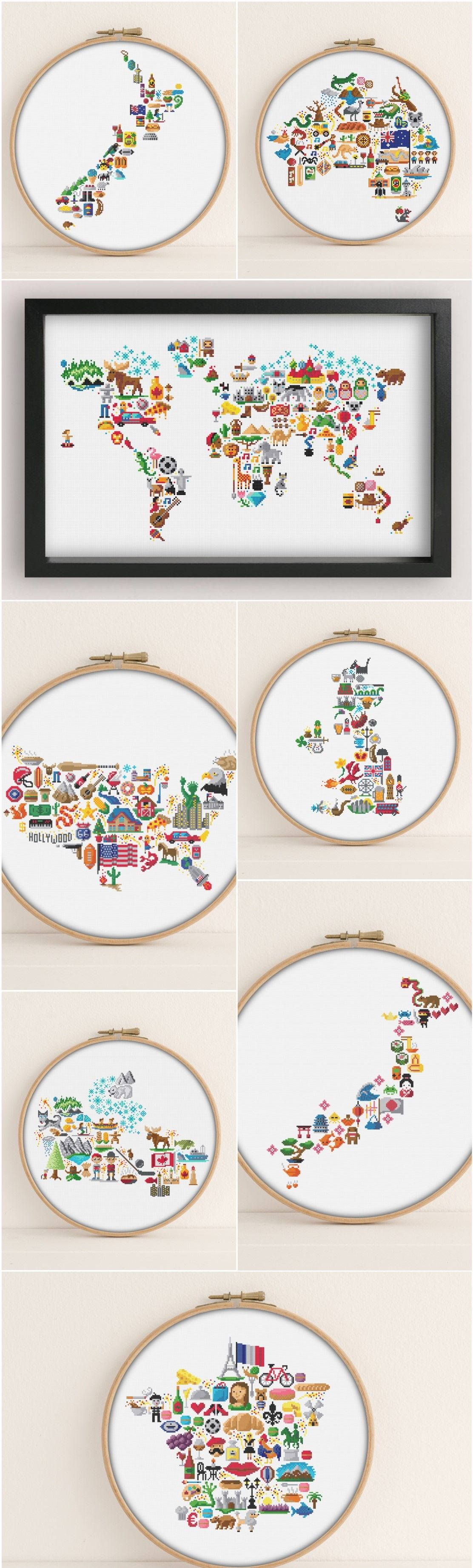 Cultural icon map cross stitch patterns world map america new cross stitch patterns modern vibrant and original by pixlstitch cultural icon map cross stitch patterns world map america gumiabroncs Gallery