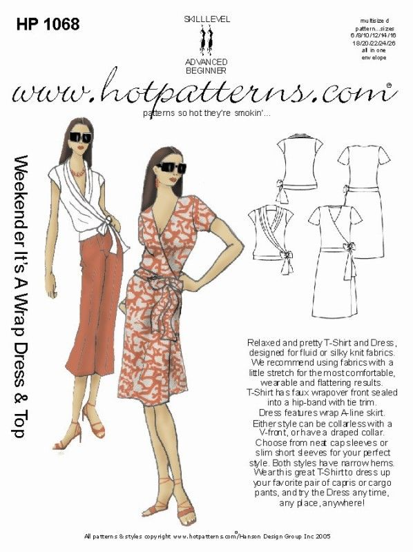Hot Patterns 1068 - Weekender It\'s a Wrap Top & Dress - Sewing ...