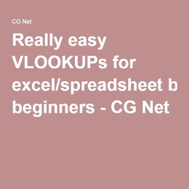 Really easy VLOOKUPs for excel/spreadsheet beginners - CG Net work