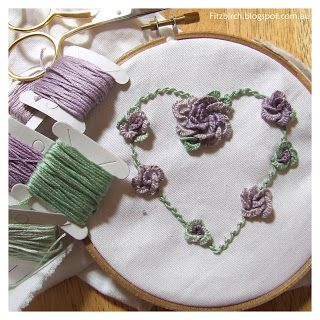 Embroidered rose heart with instructions