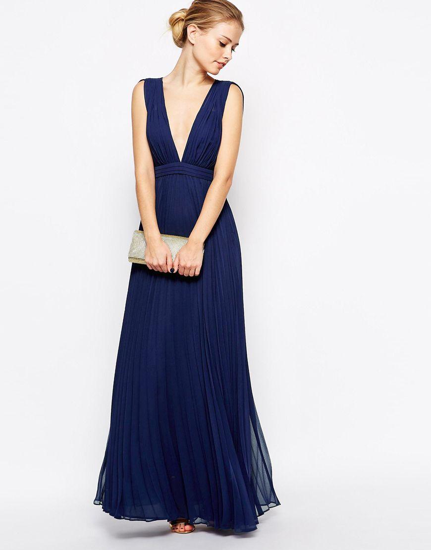 Vestido largo cuello V sin mangas-azul | Dresses en 2019 | Pinterest ...
