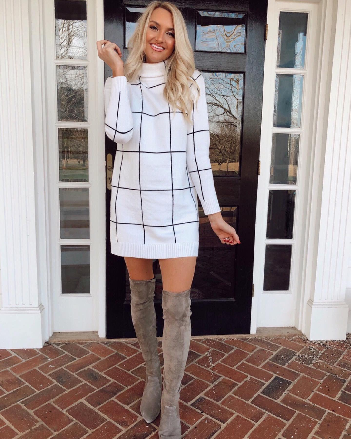 Warm Grid Turtleneck Sweater Dress white XLXXL