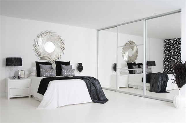 sliding mirror wardrobe and white furniture for the spare room to ...