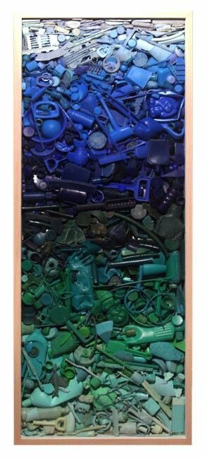 John Dahlsen / recycled art created from plastics collected from Australian beaches.