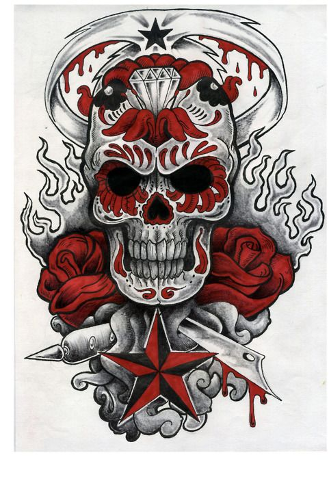 Sugar Skull Tattoo With Flames Roses Stars Skull Skull Artwork Sugar Skull Tattoos