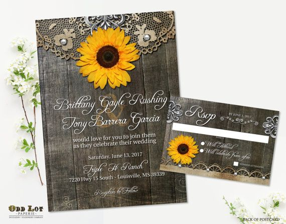Sunflower Wedding Invitation Set Rustic Country Invites Wood Grain Background Chic Printable Invite