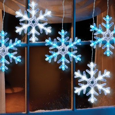philips 5ct christmas led 8 hanging snowflake icicle light string cool white and blue