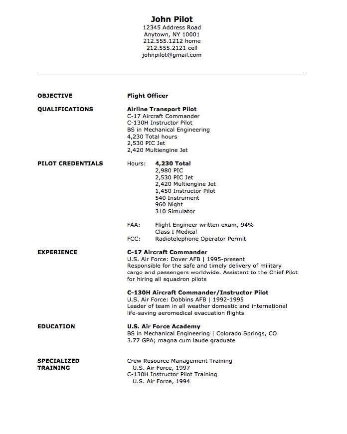 Military Flight Officer Resume Sample Free Resume Sample Free Resume Samples Resume Examples Job Resume Examples