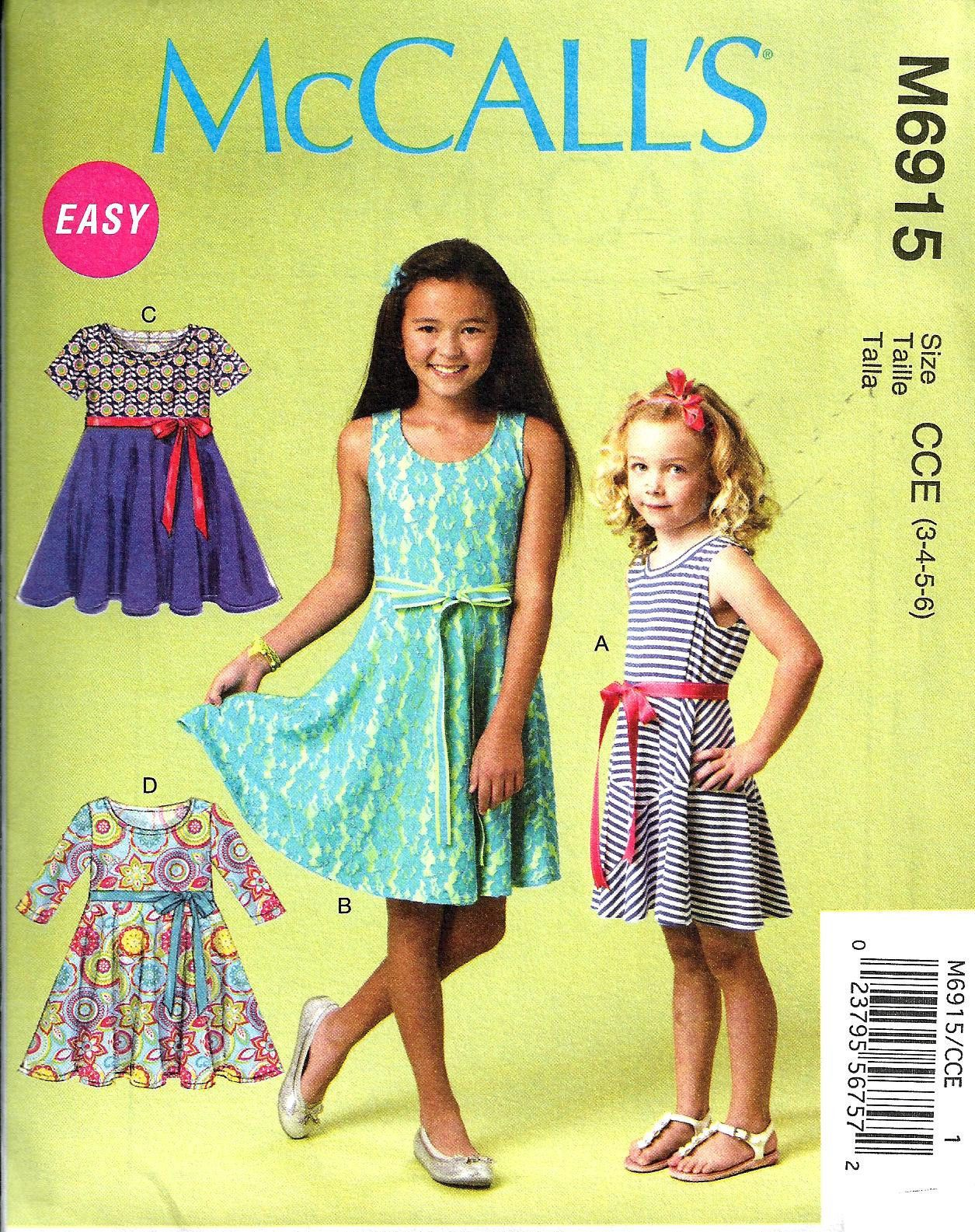 CHILD 3 TO GIRL 14 SEWING PATTERN MAKE  PULLOVER DRESSES SUMMER CLOTHES