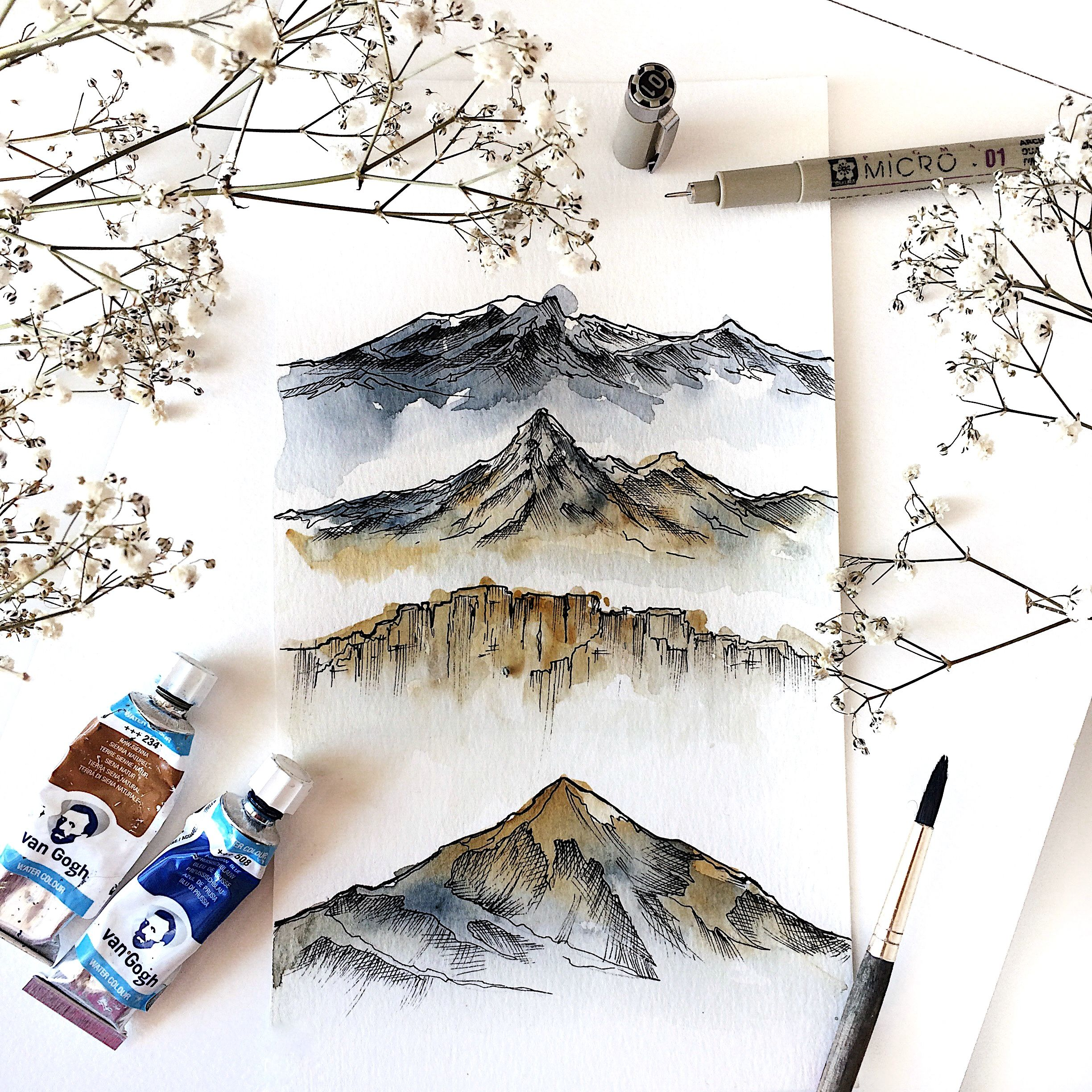 Watercolor With A Pen Sketch Over It Mountains Art Artist