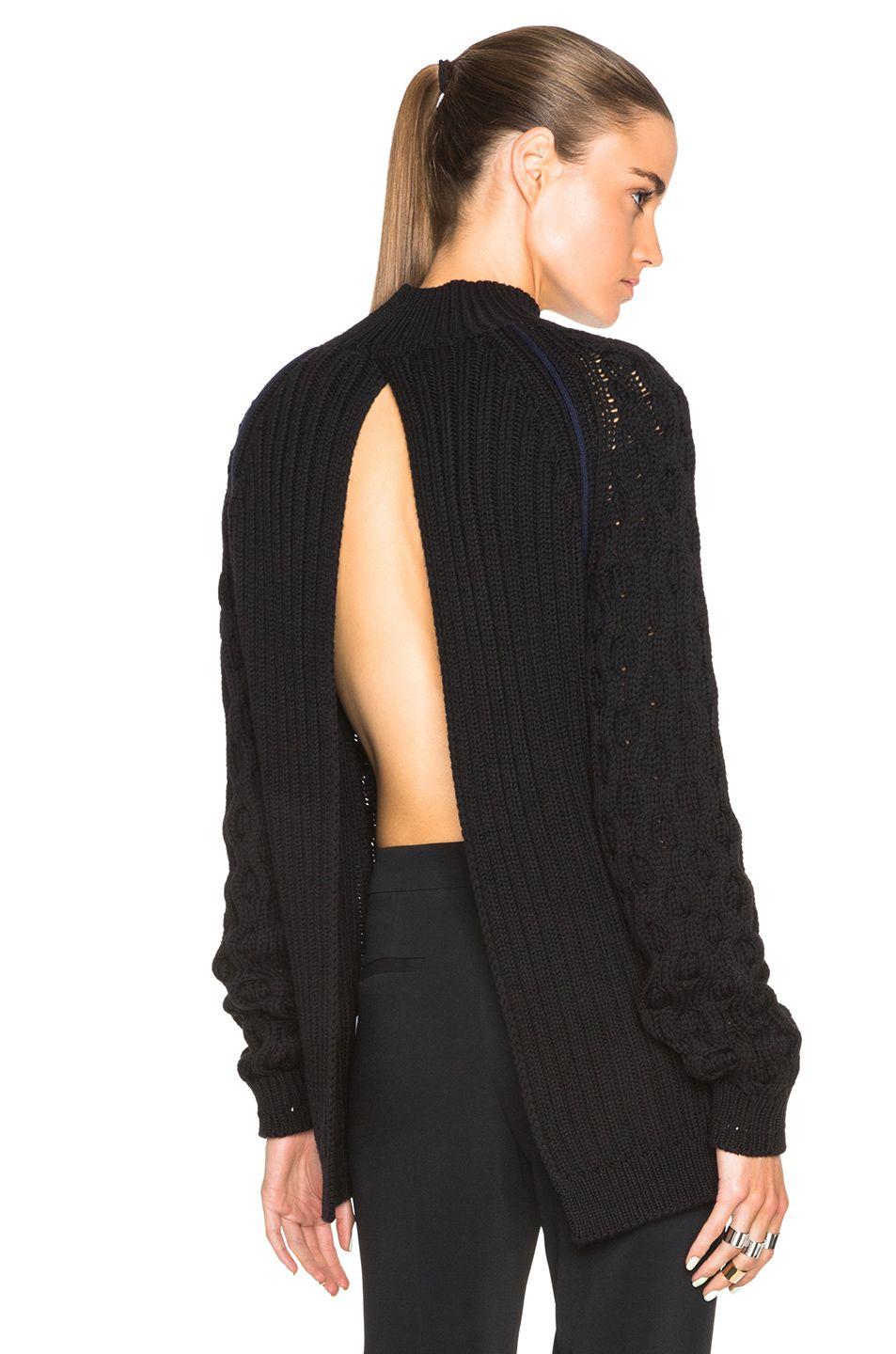 Mugler Cable Knit Open Back Sweater in Black | FWRD | Vêtements ...