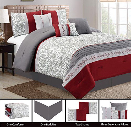 Modern 7 Piece Embroidered Bedding Burgundy Red / White / Grey Pin