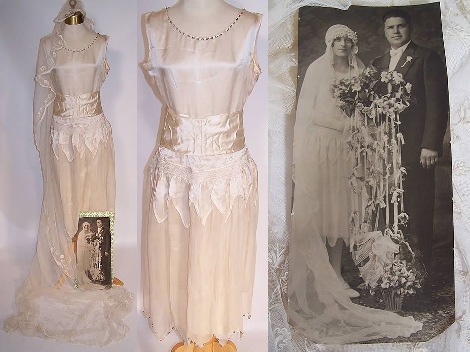 1920s vintage cream silk beaded bridal wedding dress for Vintage wedding dresses 1920s