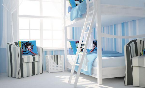 Kinderzimmer Ideen Wand Streifen Blau Weiß Etagenbett