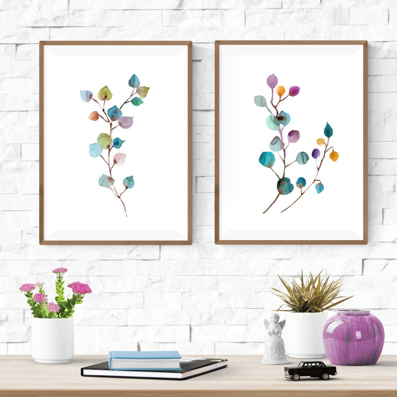Minimalist Botanical Digital Download Print Set Of 2 Printable Etsy In 2020 Scandinavian Wall Art Print Sets Botanical Wall Decor