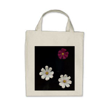 Three Flowers On A Black Background Tote Bag Black Gifts Unique