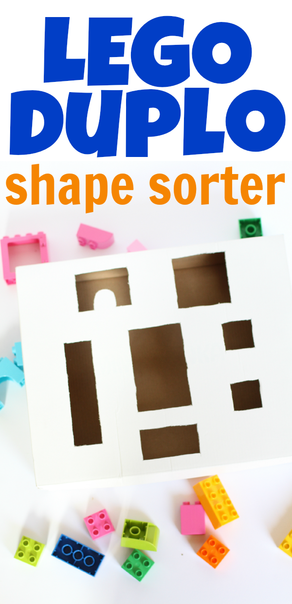 Your toddler can play with LEGOs in a whole new way with this simple DIY LEGO Duplo Shape Sorter!