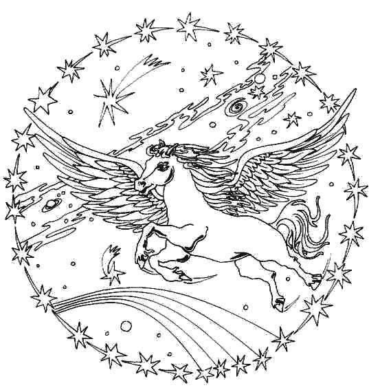 vliegend paard mandala kleurplaten paarden en knutselen