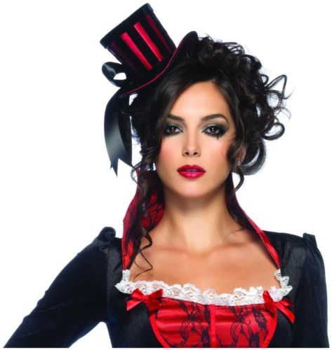 Deluxe Mini Top Hat (Red/Black) with Scary,Gothic & Vampire Look By Leg Avenue